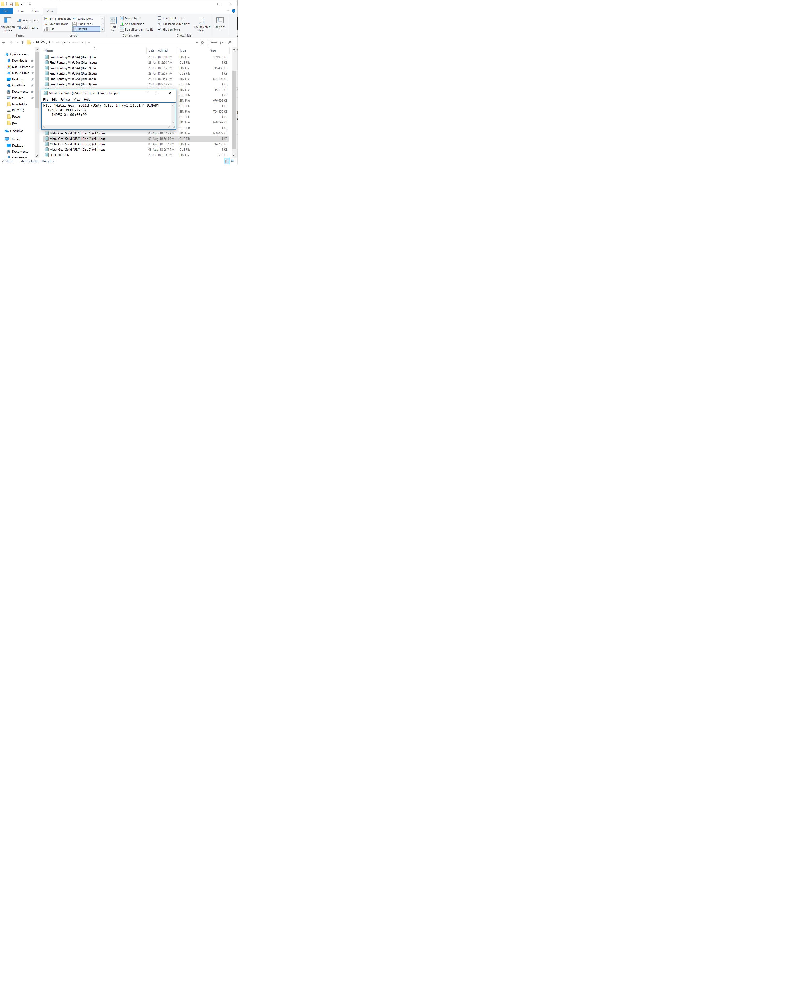 BIN/CUE Files - not showing in Emulation Station - RetroPie