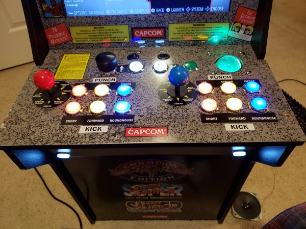 Arcade 1UP Steet Fighter Raspberry Pi 3 RetroPi, with Spinner and